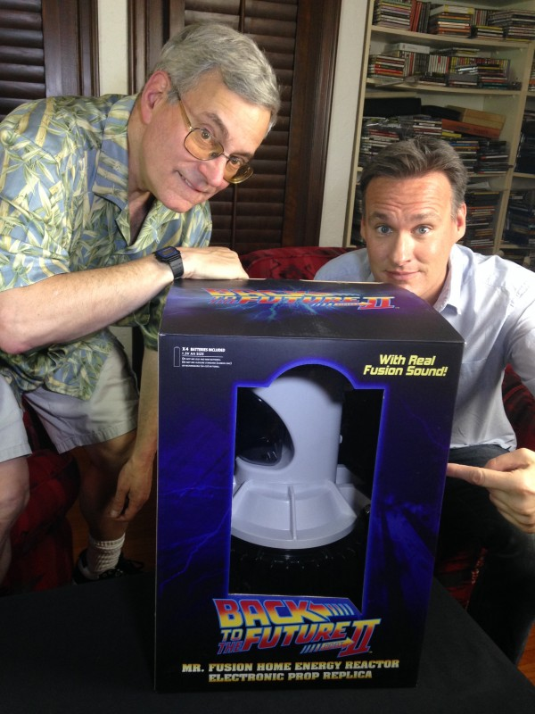 Bob Gale and Jon Donahue inspect and review the new Mr Fusion prop replica from Diamond Select Toys