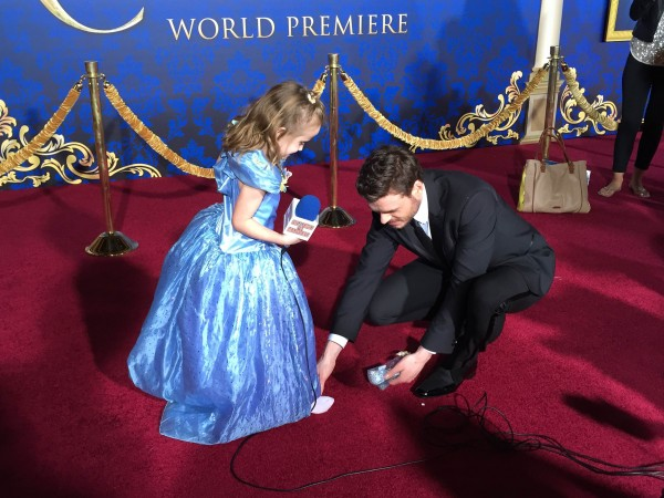 Prince Charming places the Glass Slipper upon Princess Lindalee's foot