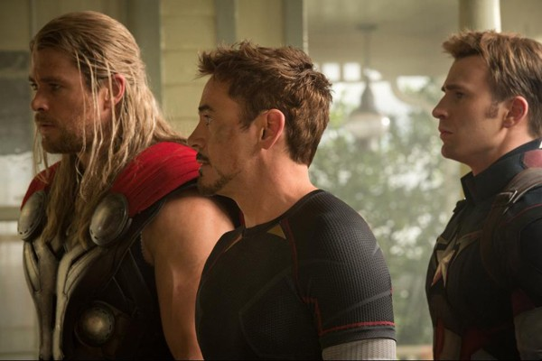 Thor (Chris Hemsworth), Iron Man (Robert Downey Jr) and  Captain America (Chris Evans)
