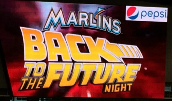 The future arrived tonight for Florida Marlins and Back to the Future fans!