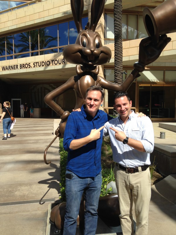 BTM's Jon Donahue and WB's John Kourounis outside the Warner Bros. Studios Tour Center in Burbank, CA