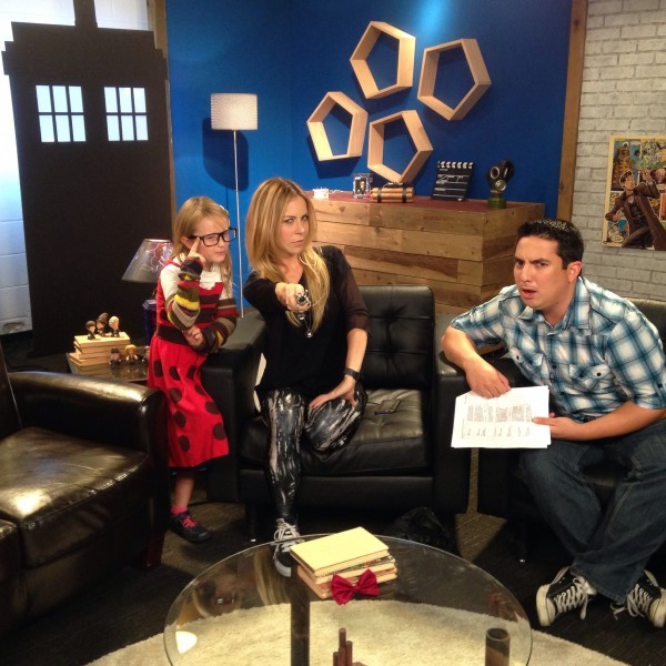 Lindalee Rose, Matt Acevedo and Michele Morrow on the set of 'Doctor Who Companion' at the Nerdist studios