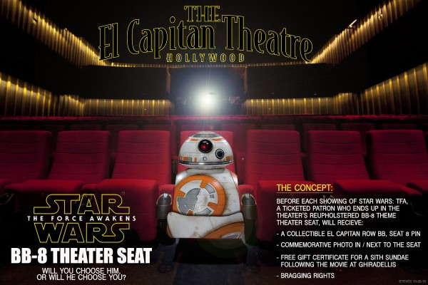 The expanded one-page visual pitch for the BB-8 in-theater seat.