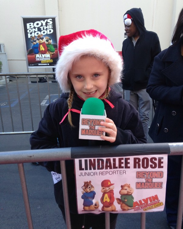 Lindalee working the Press Line at the Road Chip Premiere