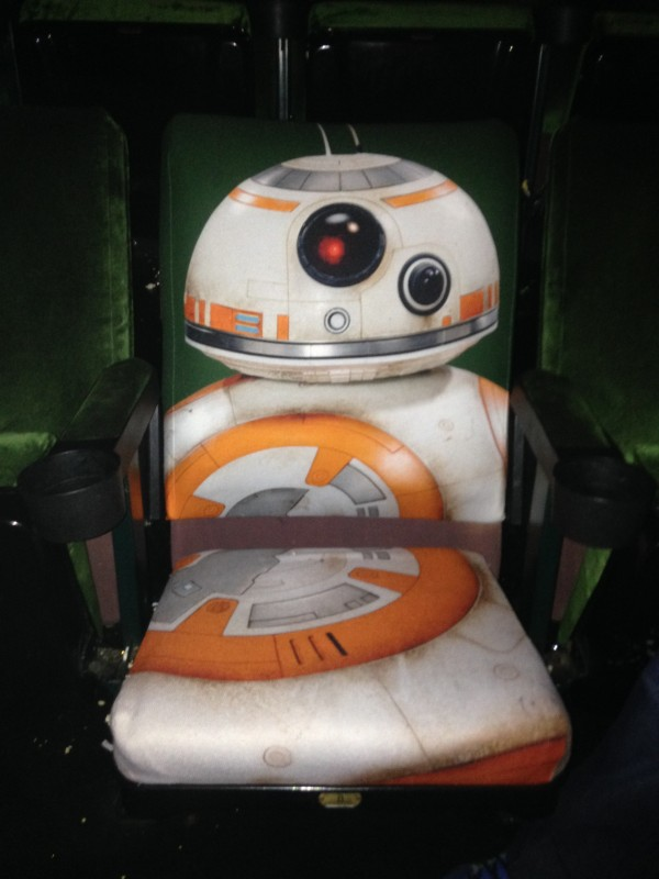 The seat opened up, ready for you to sit and watch the Force Awakens upon