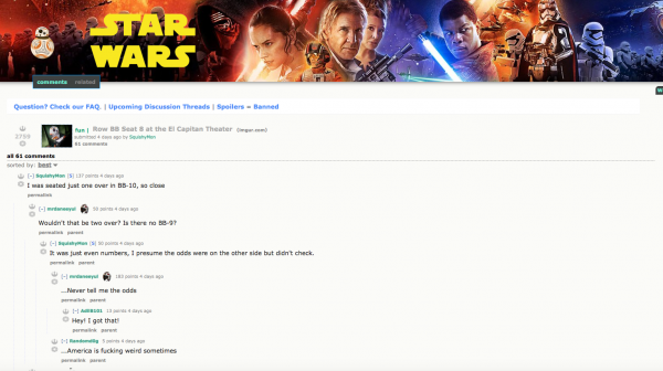 Reddit users discuss the BB-8 seat