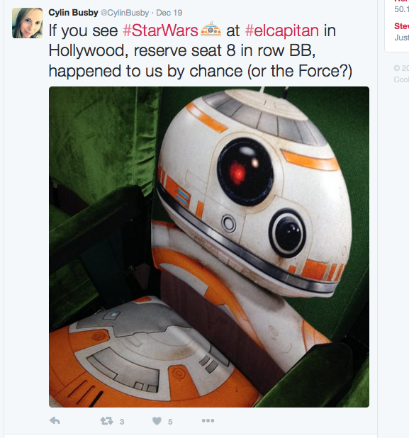 A Twitter user Tweets about ending up in the BB-8 seat!