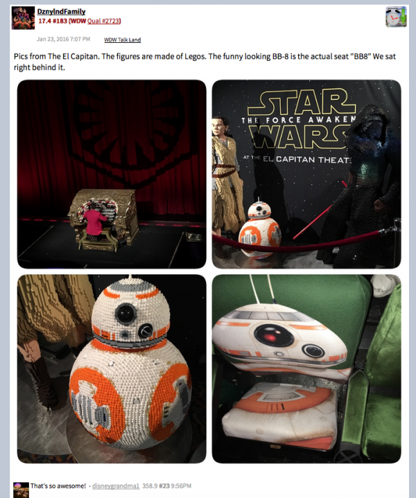 The Bb-8 seat honorably mentioned in a visual recap of the El Capitan's viewing experience offerings