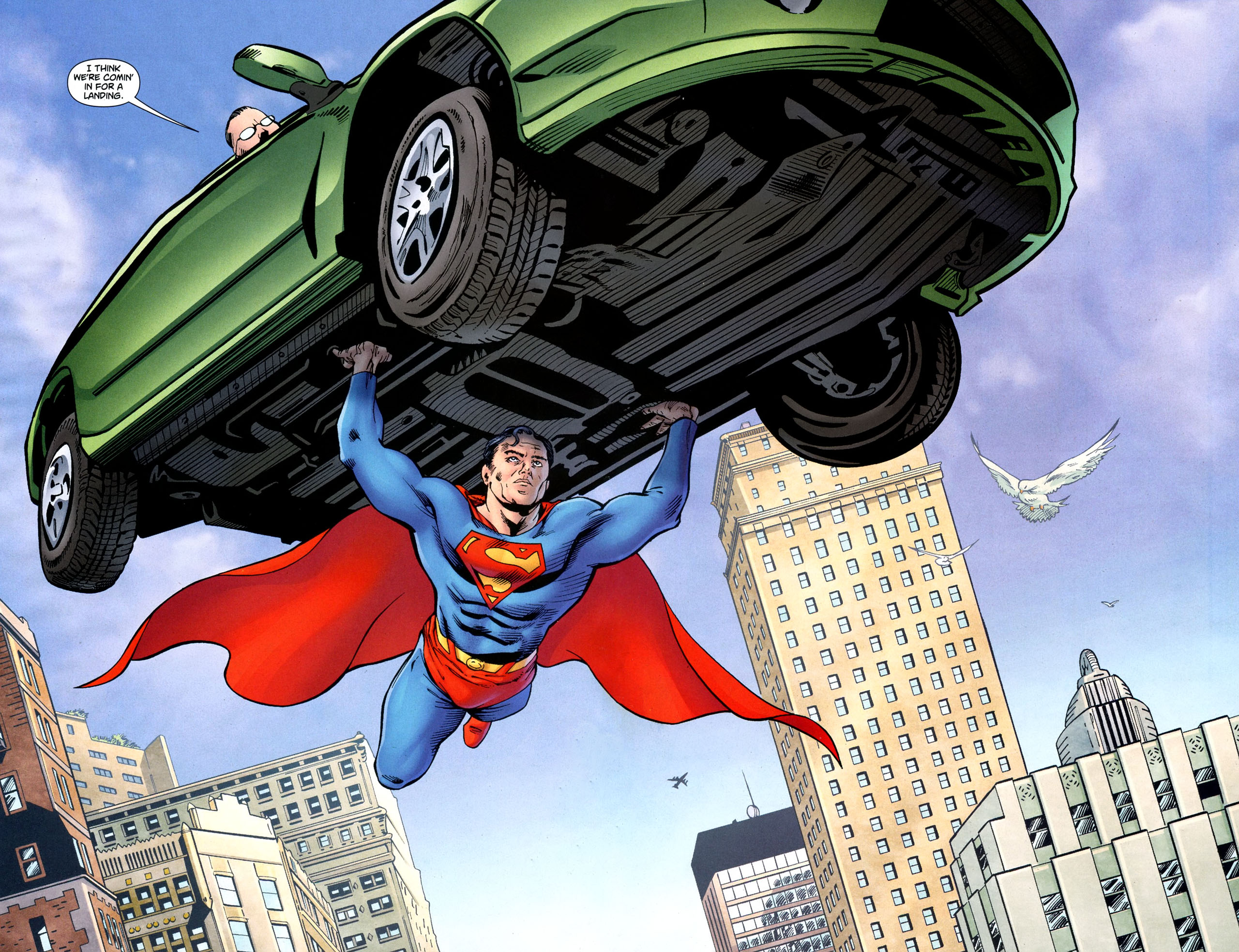 superman lifts a car beyond the marquee