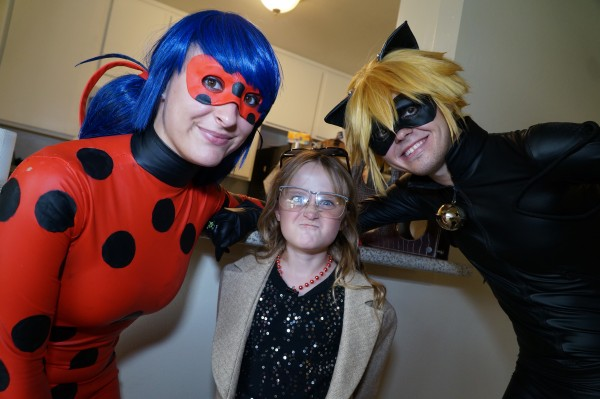 (LtR) Chloe (Ladybug), Lindalee (Grace Miller) and Topher (Cat Noir)