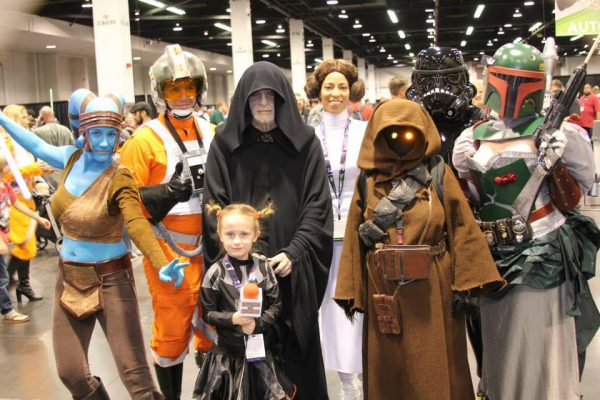 Lindalee Rose with Star Wars cos-players at Star Wars Celebration in Anaheim, CA
