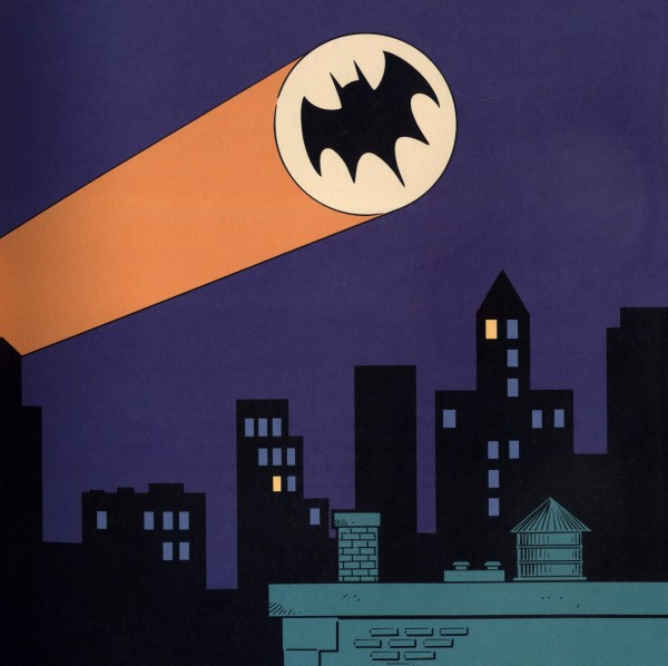 The bat-signal shines in the night, calling Batman to save the city from the forces of evil.