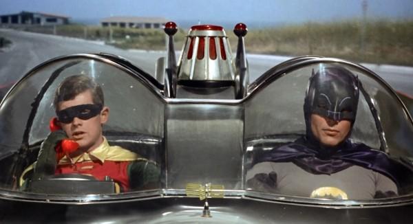 Batman & Robin in the Batmobile