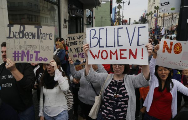 Participants march against sexual assault and harassment at the #MeToo March in the Hollywood section of Los Angeles.